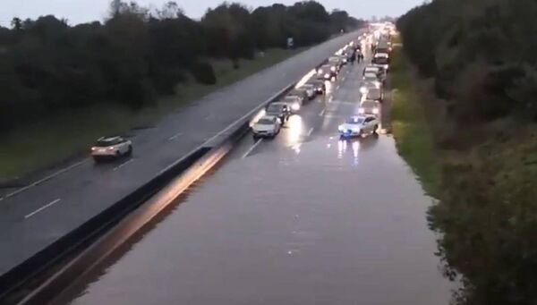 Flooding on the M8 motorway at Skeheenarinky caused the closure of two lanes.