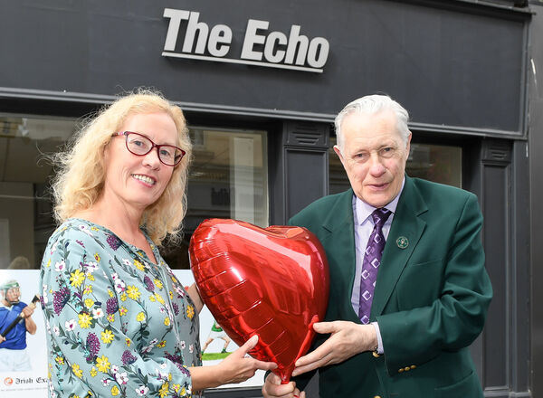 Eithne Buckley of Twoheartsmeet dating agency and Donal Moore from Hollyhill, at The Echo office on Oliver Plunkett Street. Picture: David Keane.