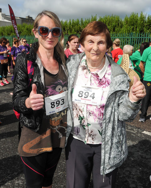 85-year-old Kathleen Kelleher from Aghabullogue and her daughter Mary, at The Echo Women's Mini Marathon.Picture: David Keane.
