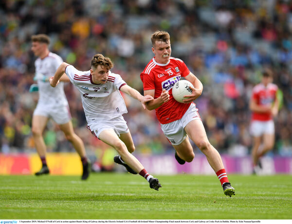 Michael O'Neill of Cork in action against Ruairí King of Galway at Croke Park. Picture: Eóin Noonan/Sportsfile