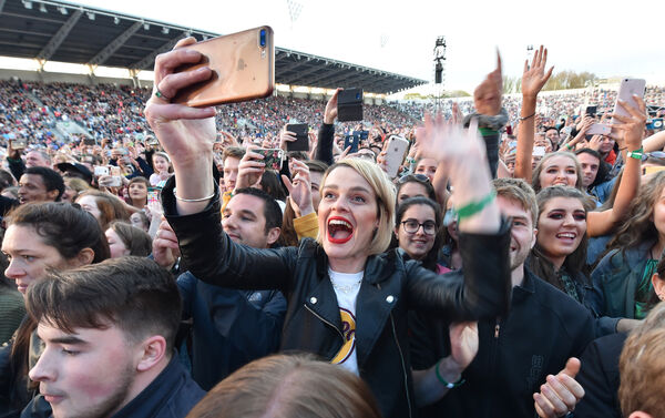 Fans shouting for Ed Sheeran during the last of his three Cork concerts at Páirc Uí Chaoimh. Picture Dan Linehan
