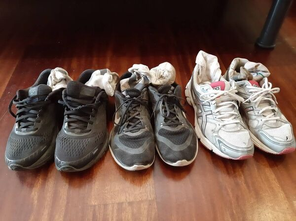 Well worn shoes - belonging to the three generations from Cork, Louise Jordan, her mother Marian Jordan, and her daughter Robyn Milner, who all walked the Camino.