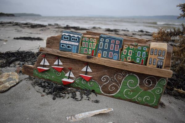 One of the art pieces crafted by Corrine Leland out of driftwood.