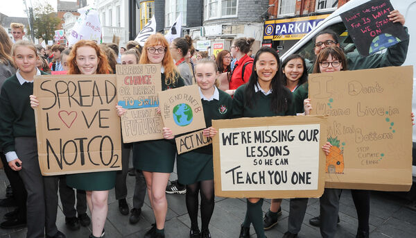 Students from St Aloysius' Cork, taking part in the Cork Climate Strike rally on Grand Parade.
