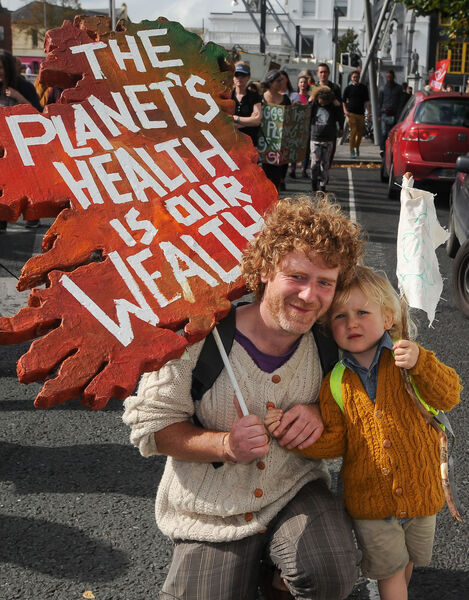 Joe and Fionn McNicholas from Dillon's Cross, at the Cork Climate Strike rally on Grand Parade.