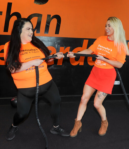 Brand ambassador Trisha Lewis, left and Natalie Hill of Dennehy's, having fun at Dennehy's Health & Fitness, to mark Dennehy's coming on board as the offical training partner of the Echo Women's Mini Marathon.Picture: David Keane