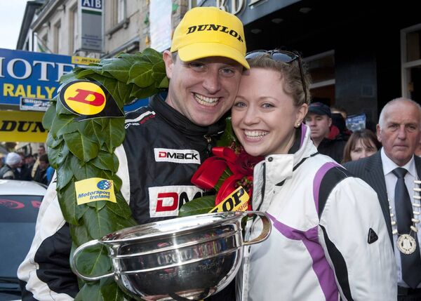 Brian O'Mahony with his wife Katrina after he clinched the 2012 Dunlop National Rally Championship at the Donegal Harvest Rally. Picture: Martin Walsh.