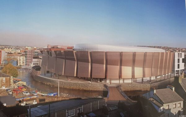 A computer-generated image of the revised events centre plans submitted by Bam following a request by planners for further information.