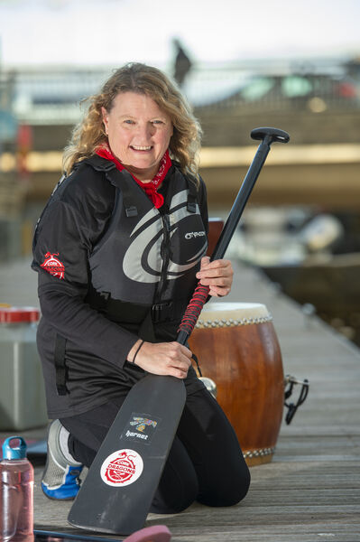 Helen Duggan of the Cork Dragons heading off for the evening on the Tara Warrior Princess from the boardwalk, Lapps Quay, Cork . Picture Dan Linehan