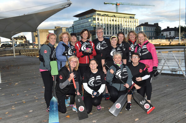 Members of the Cork Dragons on the boardwalk, Lapps Quay, Cork prior to heading off for a evening on the River Lee. Included are, Mags, Josie, Mary, Patricia, Caroline, Helen Sally, Paula Áine, Lucty, Vivian, Mary and Helen Duggan. Picture Dan Linehan