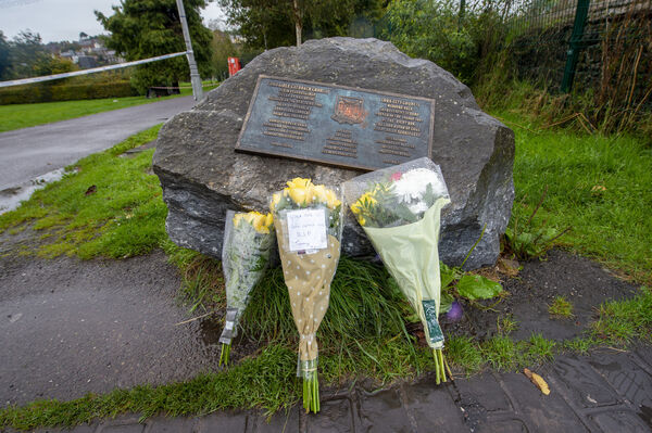 Flowers left for the late Timothy Hourihane. Picture Dan Linehan