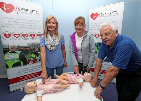 Cork City First Responders new members, Lynda O'Connor and Linda O'Halloran with Fred Lotty, Cork City First Responders Instructor.Picture: Jim Coughlan.