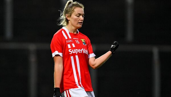 Saoirse Noonan of Cork celebrates after scoring a late point in the win over Kerry. Picture: Eóin Noonan/Sportsfile