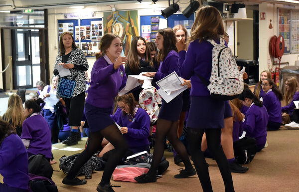 Joyful scenes as the junior cert results are handed to the students at Regina Mundi college.