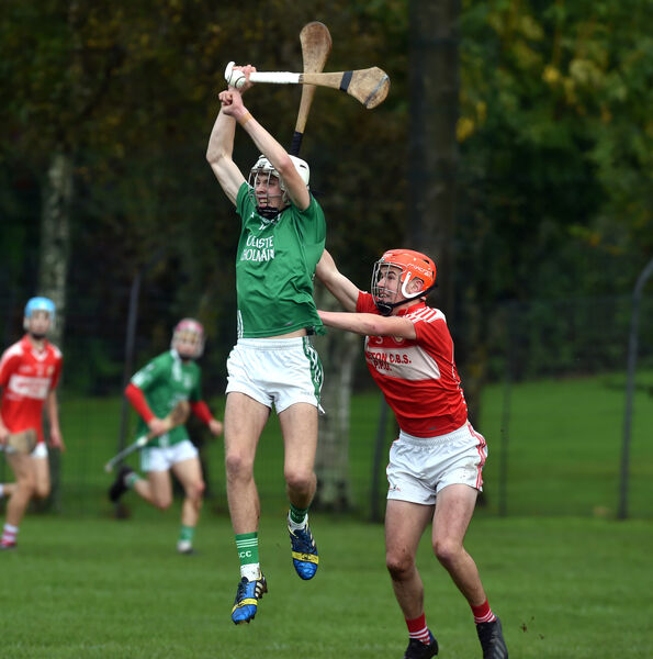 St Colman's Ben Nodwell wins the sliotar from Midleton CBS' Ciarmhac Smyth. Picture: Eddie O'Hare