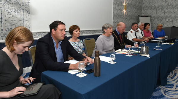 Included are Ann Doherty, Chief Executive, Cork City Council, Lord Mayor Cllr John Sheehan, gardai and public representatives at the meeting.Meeting at Rochestown Park Hotel, Cork organised by Cork City Council to meet with Douglas village traders to tackle issues following the recent fire in Douglas Village Shopping Centre. Pic; Larry Cummins.