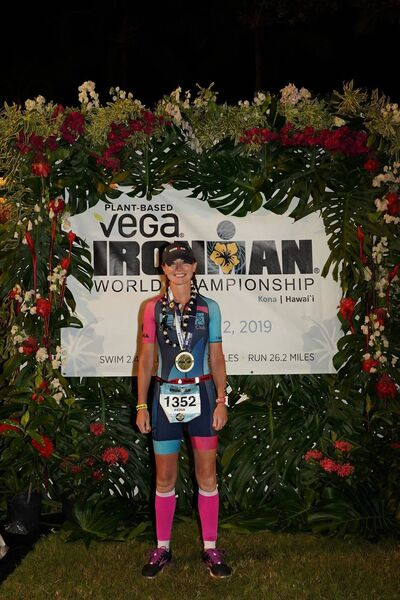 Fiona with her medal, at the Ironman World Championship Race at Kona, Hawaii.