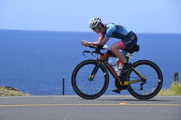 Fiona on her bike during the Ironman World Championship Race at Kona, Hawaii.