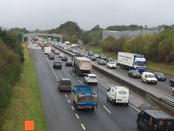 The traffic on the N40 South Ring Road following this morning's road traffic accident. Pic: Larry Cummins