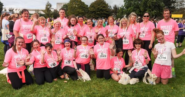 A happy group in the pink, after completing the Echo Women's Mini Marathon in aid of Breast Cancer Ireland.