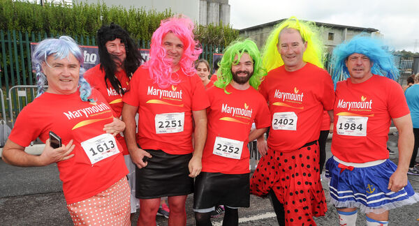 Michael Herlihy, Ger Walsh, Michael and Adam McCarthy, Bertie Dempsey and Joe Lawlor, all from Youghal, running for Marymount Hospice in the Echo Women's Mini Marathon.