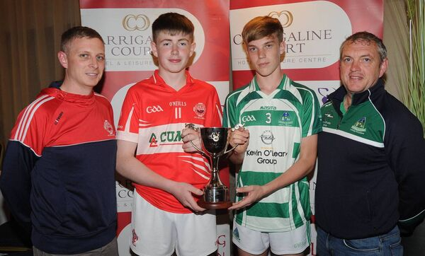 Brian Mullane and Sam O'Sullivan, Blarney, with Jonathan Murphy and Brian O'Driscoll, at the launch of the Carrigaline Court Hotel Premier 2 U16 hurling county final at the Carrigaline Court Hotel. Picture: George Hatchell