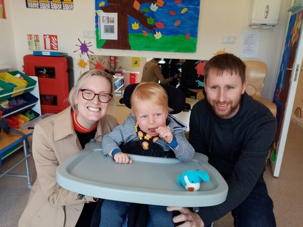 IN NEED OF FULL TIME CARE: Eimear and Richie Kelleher, and their son Conor, 2, who are thankful for the support given to them by the Jack and Jill Foundation.