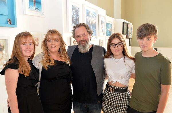 Artists Mary and Stephen Murphy, Carrigaline, at the opening of their joint exhibition of art and fibre art at St. Peter's, North Main St., Cork, with their daughters Jessica and Talia and son Vincent. Picture Denis Minihane.