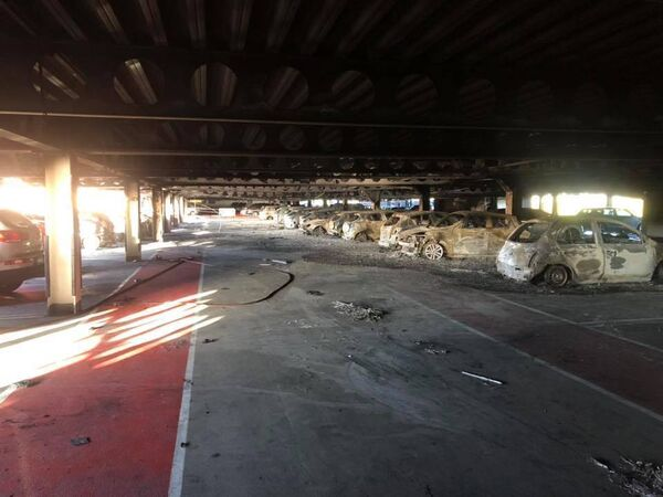 The inside of the Douglas multistorey showing the large number of burned-out cars. Pic: Cork City Fire Service