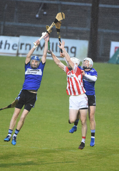 Tadhg Óg Murphy, Sars, in an aerial challenge with Brian Lawton, Imokilly. Picture: Larry Cummins.