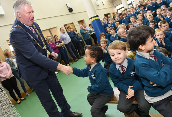 The current Lord Mayor of Cork Cllr Mick Finn visiting Scoil an Spioraid Naomh Boys school last year. School visits are a tradition by Cork's First Citizen. Former office holders fear the new position of directly elected Mayor will not allow time for such ceremonial duties. Pic: Larry Cummins.