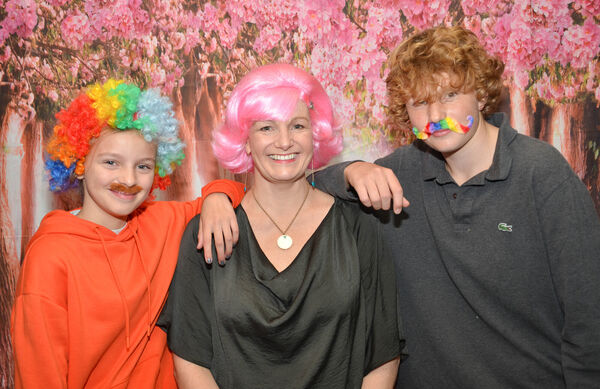 Helen Cuddigan pictured with Matilda and Louis Cuddigan at the recent Wig and Tash Bash fundriaser in the Blackbird, Ballycotton. Picture: Howard Crowdy