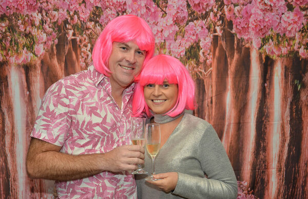 Chris Walsh and Margaret Cuddigan from Midleton seen all dressed up for the Wig and Tash Bash fundraiser in the Blackbird, Ballycotton. Picture: Howard Crowdy