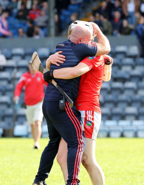 Aidan Kenny and Maurice McNamara celebrate reaching the final. Picture: Jim Coughlan.