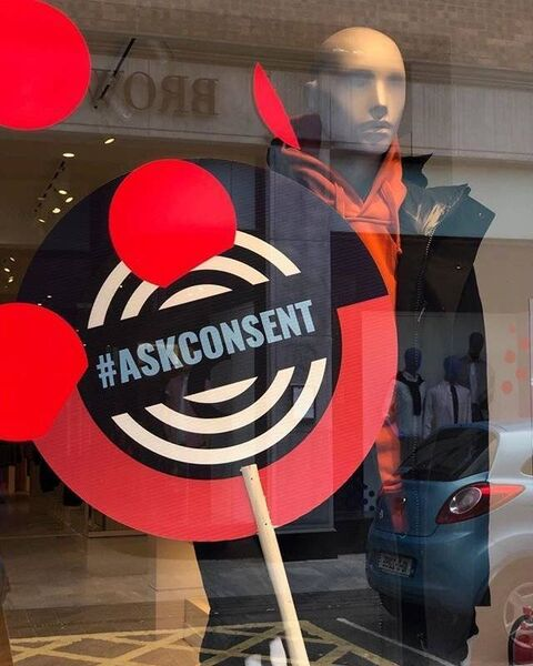 Brown Thomas' display window highlighting the campaign for consent. Picture: Cork Sexual Violence Centre