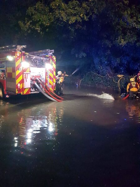 Cork City Fire Brigade working to relieve flooding across the city last night. Pic: Cork City Fire Brigade.