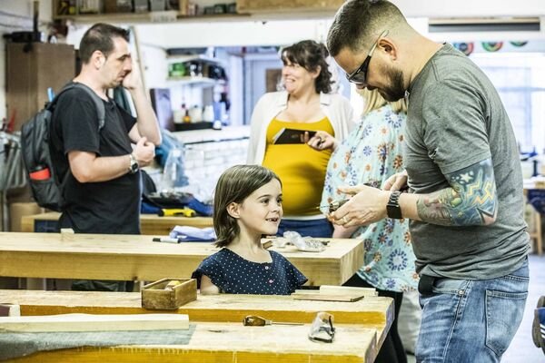 Orla Barren of Bishopstown at a woodwork class at Benchspace as part of Cork City Culture Night, 2019. Picture: Clare Keogh