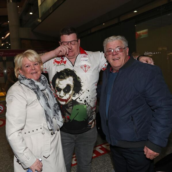 An emotional John O'Shea, from Knocknaheeny, BDO World Master Darts Champion 2019 with his mum, Margaret and dad, Johnny O'SheaPicture: Jim Coughlan.