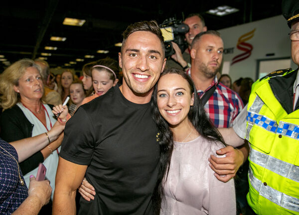 Greg O'Shea after returning to Shannon Airport as the Love Island winner. Picture: Arthur Ellis.
