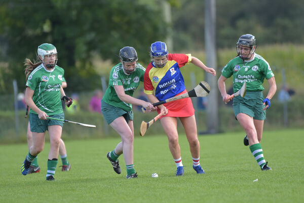 Orla Cronin, Carbery, is surrounded by Ballincollig players Aoife Cotter, Sarah Buckley and Linda Dorgan. Picture: Dan Linehan