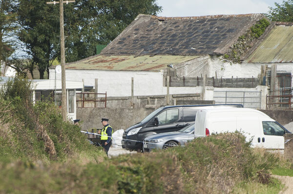 Gardai pictured at the scene of a suspicious death on a property at Shanavgoon, near Garryvoe, east Cork.Pic Daragh Mc Sweeney/Provision
