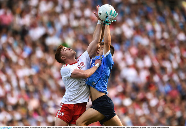 Conor Meyler of Tyrone in action against Eoin Murchan of Dublin. Picture: Oliver McVeigh/Sportsfile