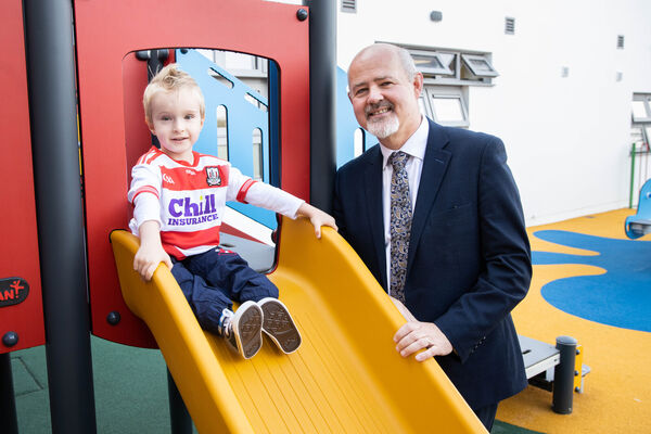 Rían O'Sullivan with John O'Sullivan, CEO, Enable Ireland at the official opening of Enable Ireland's newest Children's Service Centre in Curraheen, Cork. Pic by Darragh Kane