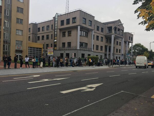 The immigration queue outside Anglesea Street Garda Station on Tuesday morning.