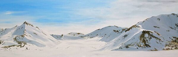 STUNNING: This is one of Angela Gilmour's artistic responses to her Arctic experience. It is Untitled 'Oil on Wood'.