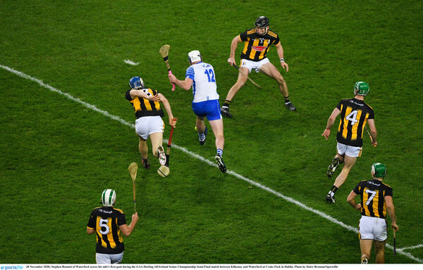 Stephen Bennett of Waterford scores his side's first goal against Kilkenny and Waterford. Picture: Daire Brennan/Sportsfile