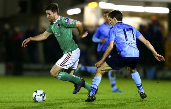 Cork City's Gearóid Morrissey and UCD's Dara Keane. Picture: INPHO/Ken Sutton