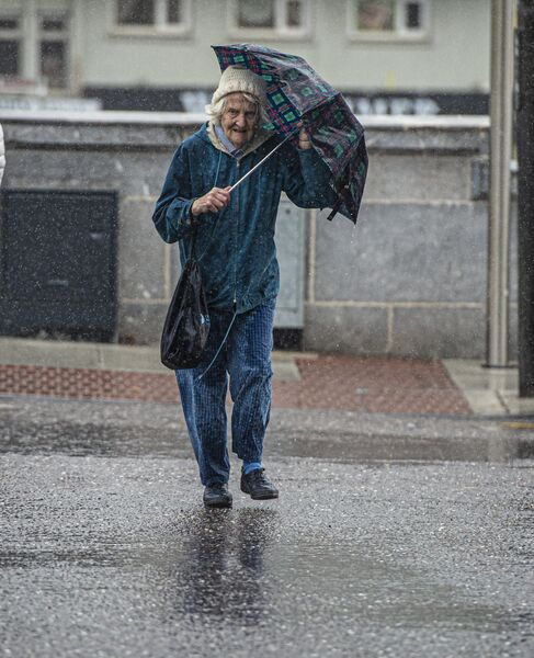 Pedestrian in Cork City as Storm Lorenzo hits.Pic Michael Mac Sweeney/Provision
