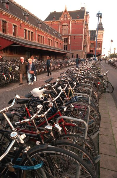 A sea of bicycles outside Central Station in Amsterdam.