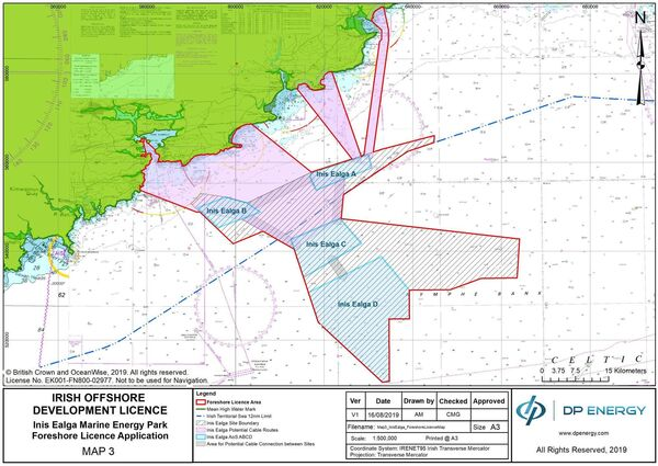 Map of proposed Inis Ealga Marine Energy Park. Pic: DP Energy Ireland.